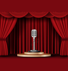 Microphone on stage curtain vector