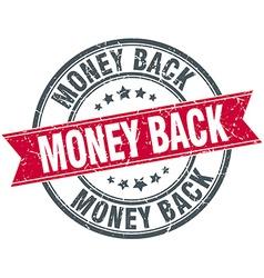 Money back red round grunge vintage ribbon stamp vector