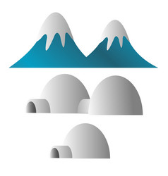 Mountain covered with snow and eskimo ice house vector
