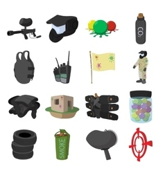 Paintball game cartoon icons set vector