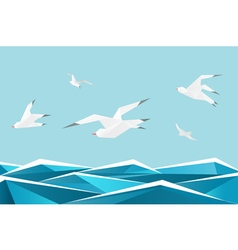 Paper sea with birds origami gulls above waves vector