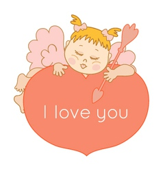 Postcard Valentine is Day with Cupid vector image vector image