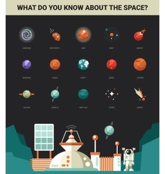Poster with modern flat design space icons and vector