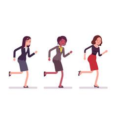 Runnig businesswomen in formal wear vector