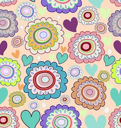 seamless pattern of doodle flowers vector image vector image