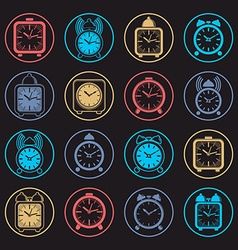 Simple alarm clocks with clock bell wake up icons vector