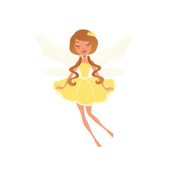 Smiling fairy with long brown hair in fancy yellow vector