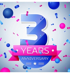 Three years anniversary celebration on grey vector image vector image