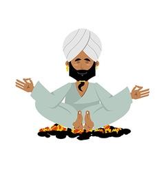 Yogi on coals Indian yogi sitting on hot coals vector image