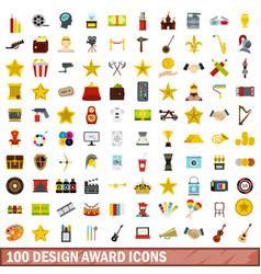100 design award icons set flat style vector image