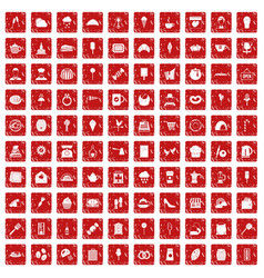 100 patisserie icons set grunge red vector