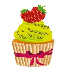 Delicious cupcake sweet pastry vector