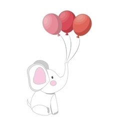 baby elephant with balloons party vector image