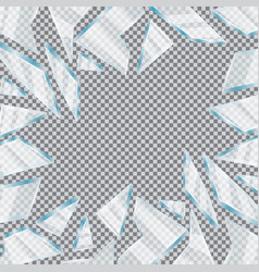 Broken glass window on transparent background vector