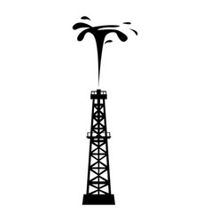 Isolated oil well silhouette vector