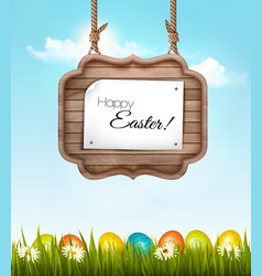 Happy easter background with colorful eggs and vector