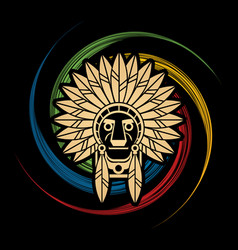 Native american indian chief  head and face graph vector
