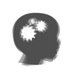 Thinking head sign  gray icon shaked at vector