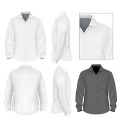 Mens button down shirt long sleeve design template vector