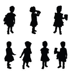 Child silhouette cute set in black vector