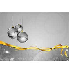 Christmas background two color silver gifts balls vector