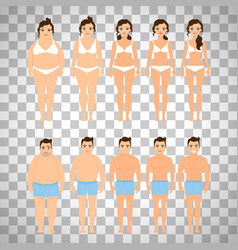 Cartoon people before and after diet vector
