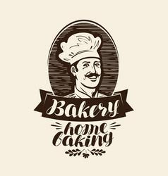 Bakery bakehouse logo or label home baking vector