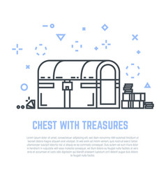 treasure chest line vector image