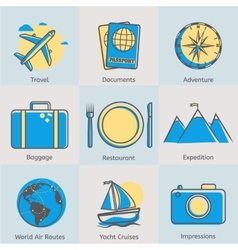 Flat line tourism icons set Modern design style vector image