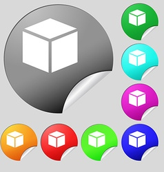 3d cube icon sign set of eight multi colored round vector