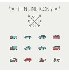 Transportation thin line icon set vector image