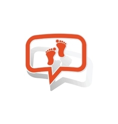 Footprint message sticker orange vector