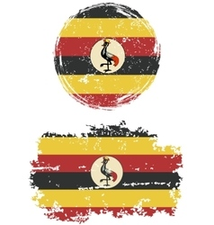 Ugandan round and square grunge flags vector