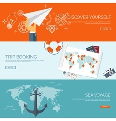Flat travel background summer holidays vacation vector