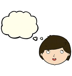 Cartoon happy face with thought bubble vector