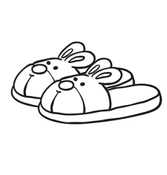 black and white bunny slippers vector image