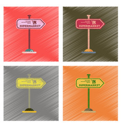 Assembly flat shading style icons supermarket sign vector