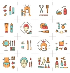 Beauty set line icons art cosmetic spa vector