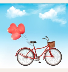 Bicycle with red heart shaped balloons in front of vector image vector image