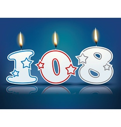 Birthday candle number 108 vector image vector image