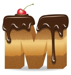 Cake letter M- birthday font vector image vector image