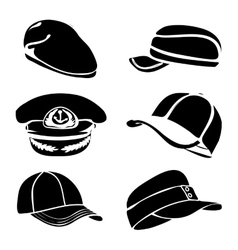 Cap set isolated on white black art vector