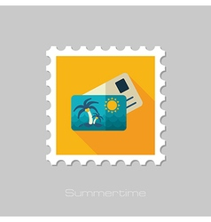 Card with palm flat stamp summer vacation vector