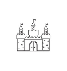 castle icon linear design isolated on white vector image vector image