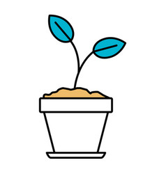Color sections silhouette of plant in flower pot vector