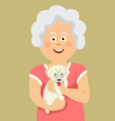 cute elderly senior woman holding labrador puppy vector image vector image