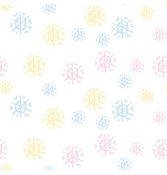 Cute pastel color snowfalkes semless pattern on vector