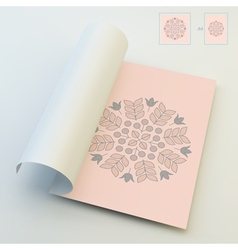 Floral Elements Textbook Booklet Notebook Mockup vector image vector image