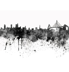 Hamburg skyline in black watercolor on white vector image vector image