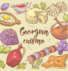 Hand drawn georgian food background cuisine vector